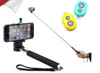 Wholesale Self timer Wireless Bluetooth Remote Shutter Extendable Self Portrait Selfie Stick Handheld Monopod for iphone Samsung Android Phone
