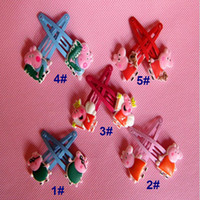 Barrettes & Clips Children's Gift 2014new 50pcs lot Baby BB clips girls hairpins Children Hair clips silicone Headwear cartoon Peppa pig doll girls hair accessories kld001