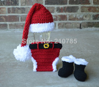 Spring / Autumn babys photos - 2014 Crochet Santa Hat Diaper cover boots set babys christmas outfit newborn to months photo prop