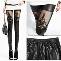 Polyester Mid Fashion Free Shipping Slim Fit Artificial PU Leather Lace Stitching Leggings WSS041