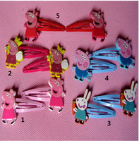 Barrettes & Clips Children's Gift 2014 new 5 styles 50pcs lot Baby BB clips girls hairpins Children Hair clips silicone Headwear Peppa pig doll girls hair accessories kld001
