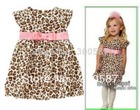 Wholesale MN summer pink Western style belt fly sleeve leopard dress girls clothes Casual Dresses