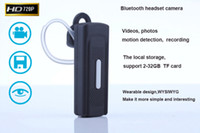 Wholesale Bluetooth Earphone headset Style HD P Mini DV Camera motion detection Taking Photo Video Recording PC Camera Support TF Card
