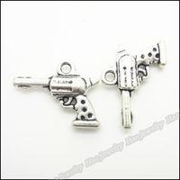 Gold antique pistols - 50 Vintage Charms pistol Pendant Antique silver Fit Bracelets Necklace DIY Metal Jewelry Making