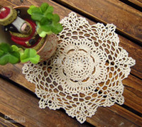 Wholesale 24pcs cotton round handmade Crochet cup mat Beige or White color crochet doiles CM dia inch