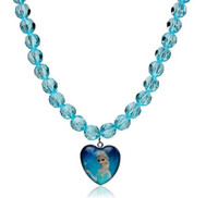 Wholesale Kids Children Frozen Elsa Anna Princess Cartoon Pendant Necklace Beaded Strand Necklaces Jewelry