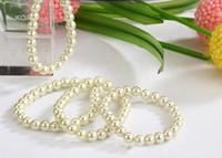 Wholesale New White Beige Faux Pearl Bracelets Elastic Bridal Bracelet