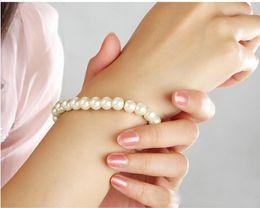 Fashion 12pcs White Beige Faux Pearl Bracelets Elastic Bridal Bracelet Party Jewelry Gift