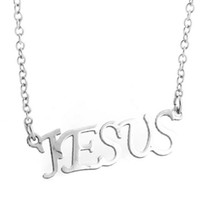 Wholesale 2014 Fashion Womens Mens Jesus Letter Lobster Clasp Silver Stainless Steel Link Chain Pendant Necklace Cheap Jewelry