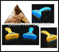 Wholesale Yellow Blue Great Quality Pet Supplies Fasaiton Deluxe quot Pet shedding Tool for Dog Grooming F305