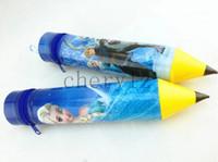 Plastic   Frozen Pencil Bags Fashion Pencil Shape Cartoon Elsa Anna Pencil Case Kids Stationary Bags Christmas Gift BB233