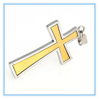 Wholesale Charms DIY Fashion Jewelry Findings Women Men K Gold Plated Silver Stainless Steel Cross Pendant