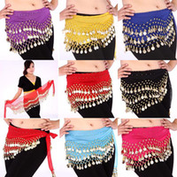 sequin scarves - 3 Rows Coins Belly Egypt Dance Hip Skirt Scarf Wrap Belt Costume High quality
