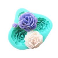 Wholesale 2014 New Arrival hole Roses Flower Silicone Mould Sugar craft Cake Decorating Fondant silicone fondant molds B003 TK1029