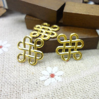 Chains Gold Fashion Wholesale 150 PCS Vintage Charms Chinese knot Pendant Gold Fit Bracelets Necklace DIY Metal Jewelry Making
