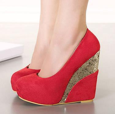 New Red Platform Wedge Heels Shoes Glitter Gold Sequined Wedding ...