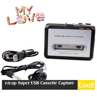 Wholesale Ezcap USB Cassette Capture Recorder Radio Player Tape to PC Super Portable USB Cassette to MP3 Converter With Retailing Box