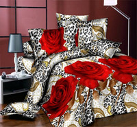 Cotton Twill Yes SUNA Beautiful Rose Leopard Free shipping! 4 piece of bed set bed sheets duvet cover bed linen bedclothes 3d bedding sets