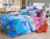 Silk / Cotton 40 4 pcs Cartoon animal blue sea with dolphin and fish Bedding set sets Bedclothes twin full queen king Size Bedding bedspread Home decor