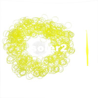 Charm Bracelets Rope Chain Silicone RQ-2014 New 600PCs Yellow GLOW IN THE DARK Luminous Loom Bands Refill Rubber Bands With Clips For Loom Bracelets DIY