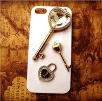 For Apple iPhone Metal Rhinestone Case Min.$15 (Mixed Order) Cell Phone Case DIY Charms Alloy Gold Heart Key Decoration Rhinestones With Free Shipping