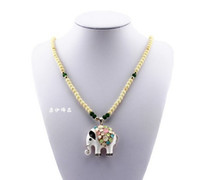 Beaded Necklaces Unisex Fashion Fashion Jewelry Vintage Drip Inlay Opal Exquisite Jade Bead Sweater Chain Elephant Pendants Necklaces Free Shipping 10pcs P268