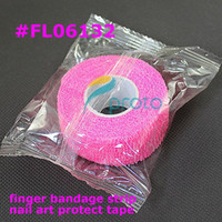 bandage in roll - 10pcs Pink Finger File Bandage Strip Protection Flex Wrap Color Rolls Manicure Tool Nail Drill Accessory SKU F0058XXX
