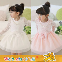 TuTu lace bow - children clothes fall autumn girls cute Lace bow long princess Dresses dandys