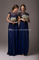 Reference Images Ribbon Short Sleeve 2014 Cheap Short Sleeves Navy Blue Chiffon Lace Bridesmaid Dresses Blue Long Maid of Honor Dress Prom Dress
