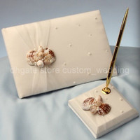 Wholesale Elegant Nature Flax Wedding Party Supplies Colour Schemes Accessories Guestbook and Pen Set