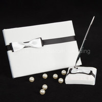 Wholesale Elegant White Bow Black Ribbon Wedding Party Supplies Colour Schemes Accessories Guestbook and Pen Set