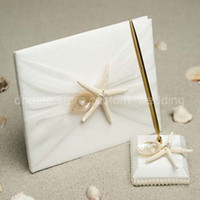 Wholesale Elegant Beautiful White Ribbon Sea Shell Wedding Party Supplies Colour Schemes Accessories Guestbook and Pen Set
