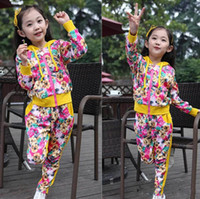 Girl Spring / Autumn Long Fashion Autumn Korean Printed Girls Sets Long Sleeve With 3D Ear Hat Flower Jacket Tops+Pants Trousers 2Pcs Set Baby Girl Clothing