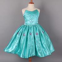TuTu Summer Ball Gown 100pcs lot New Style Summer Frozen Princess Elsa Anna Children Wrap chest dresses sleeveless dress cartoon Baby Girl party princess dress