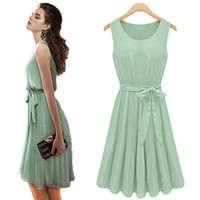 Casual Pleated Dress Summer Top quality 2014 dress fashion dresses 100% polyester women summer dresss sleeveless 0-neck chiffon pleated dresses sashes green dress