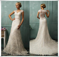 Sheath/Column Model Pictures V-Neck 2014 Sheer Wedding Dresses V Neck Short Capped Sleeve Sexy Sheer Back A Line Chapel Train Beaded Lace Bridal Gowns Amelia Sposa