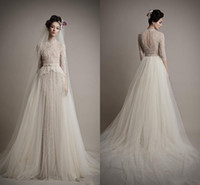 A-Line atelier beads - Ersa Atelier New High Neck Mermaid half Sleeves Beads Lace Wedding Dresses Bridal Gowns with Detachable Tulle Skirt