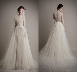 Wholesale Ersa Atelier New High Neck Mermaid half Sleeves Beads Lace Wedding Dresses Bridal Gowns with Detachable Tulle Skirt