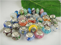 Glass Round Chirstmas DIY jewelry 925 ALE stamped thread core murano glass beads mix lampwork glass beads, big hole european charms mixed european beads in bulk