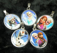 Pendant Necklaces assorted princess - Kids Frozen Elsa Anna Princess Cartoon Children Stainless Steel Pendant Necklace Models assorted children s jewelry