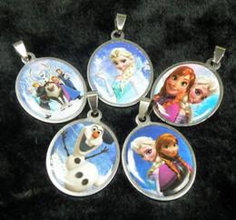 Wholesale Hot Sale Kids Frozen Elsa Anna Princess Cartoon Stainless Steel Pendant Necklace Models Mix