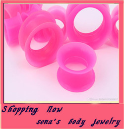 F31-1 mix 4-25mm 48pcs pink silicone double flare silicone flesh tunnel ear plug body jewelry
