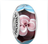 Wholesale Christmas sale New fashion beads Sterling Silver and Green Clover Murano Glass Charm Bead For Pandora Bracelet