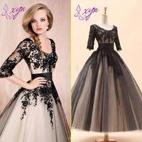 Wholesale 2016 Fashion Black Vintage Short Wedding Dresses Long Sleeve Tea Length Scoop Neckline Lace Beaded