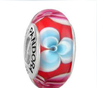 Wholesale Newest pandora AlE stamped beads crystal glass beads Sterling Silver Murano Glass Charm Bead For Pandora Bracelet