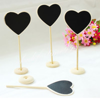 Wholesale 50 Wooden Heart Shaped Mini Blackboard Chalkboard On Stick Table Numbers Place Card Favor Wedding Party Decoration Tag Plant