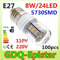 Cheap Free shipping 100x 5730SMD 24LED 8W E27 E14 B22 G9 GU10 110V 220V Corn Bulb Light Lamp LED Lighting Warm Cool White Glass Cover