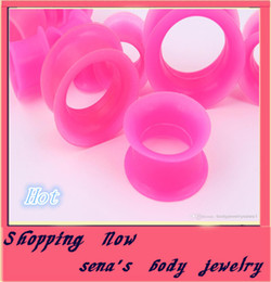 mix 4-25mm 96pcs pink double flare silicone flesh tunnel ear plug body piercing kits earring tragus jewelry