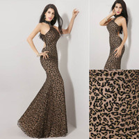Wholesale 2014 Fall Hot Sale Leopard Print Fashion Luxury Summer Mermaid Prom Dresses Tulle Crystal High Neck Backless Floor Length Long Bridal Gowns