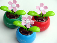 solar dancing toys - Cool Novelty Toys Car Decor Flap Flip Solar Powered Flower Flowerpot Swing Solar Dancing Toy Ornaments